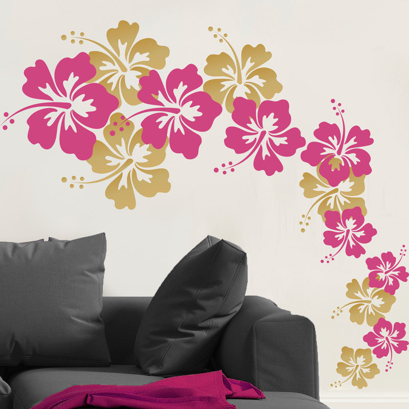 Cascading Hibiscus Flowers Wall Decal Shop Decals At Dana Decals