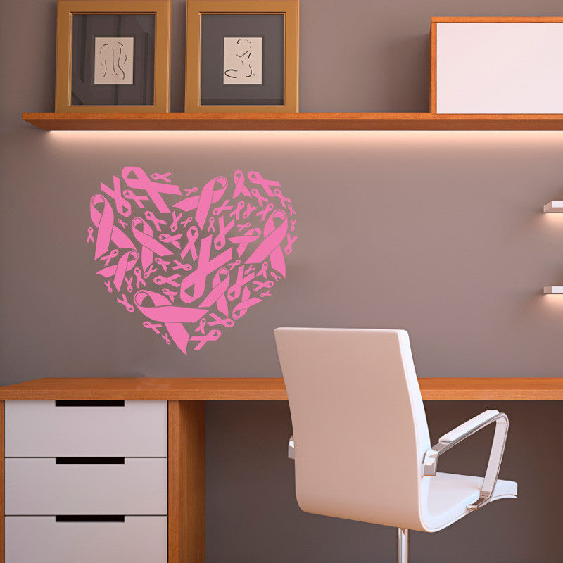 Pink Ribbon Pattern Heart - Dana Decals - 1