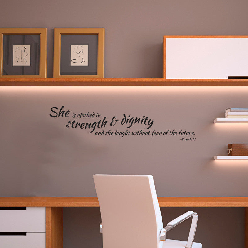 Strength & Dignity Proverbs 31 Quote - Dana Decals - 1