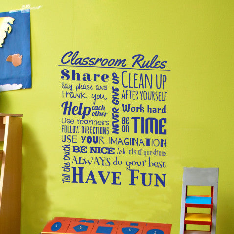Classroom Rules Typographic Decal - Dana Decals