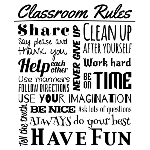 classroom rules quote wall decal