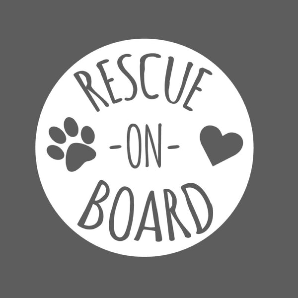 Rescue on Board Car Sticker in White SALE ITEM - Dana Decals