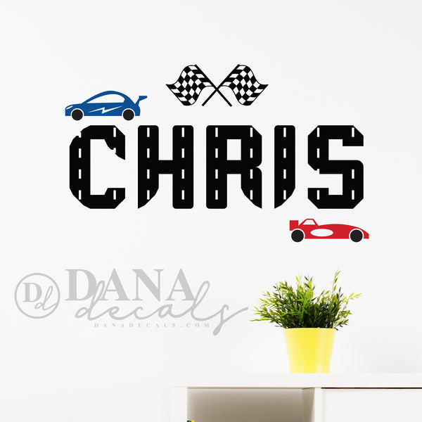 Personalized Race Car  Name Decal - Dana Decals