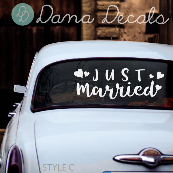 Assorted Just Married Decal Styles - Dana Decals