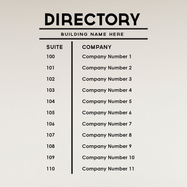 Custom Business Building Directory Sign - Dana Decals