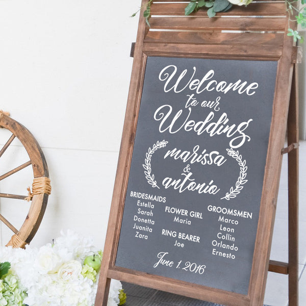 Wedding Party List Sign Decal - Dana Decals