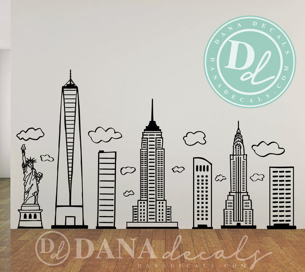 Doodled New York City Skyline - Dana Decals