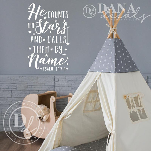 He Counts The Stars Psalm 147 - Dana Decals