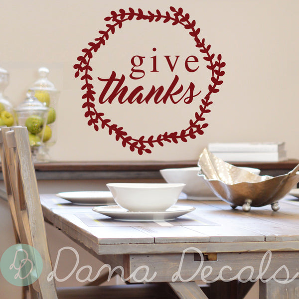 Give Thanks Wreath - Dana Decals