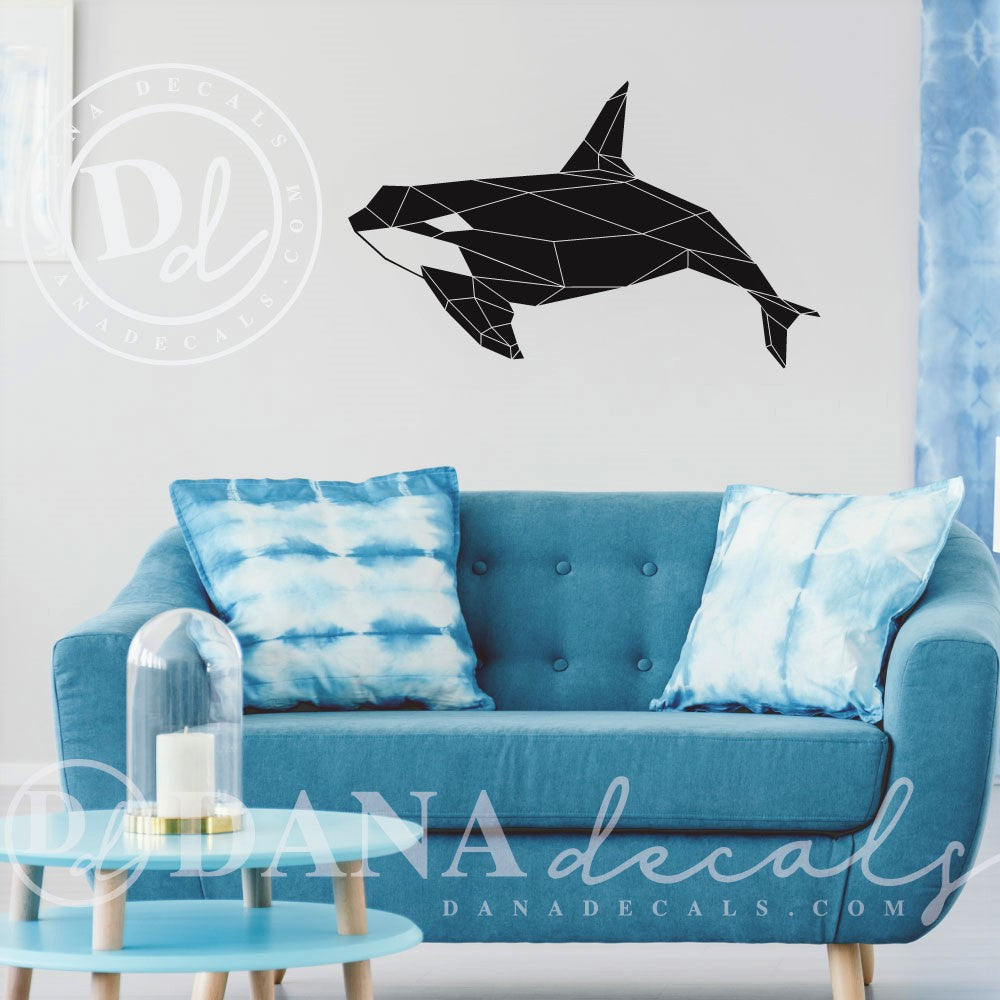 Modern Geometric Whale Decal - Dana Decals