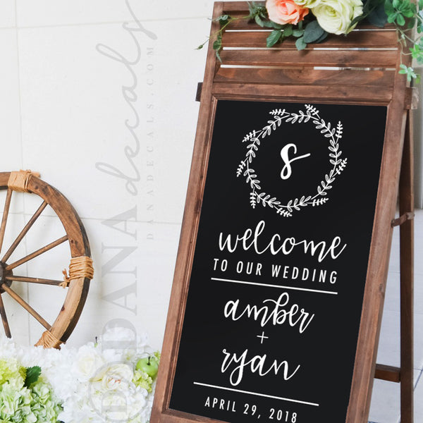 Wedding Welcome Sign.Elegant Wedding Welcome Sign Decal