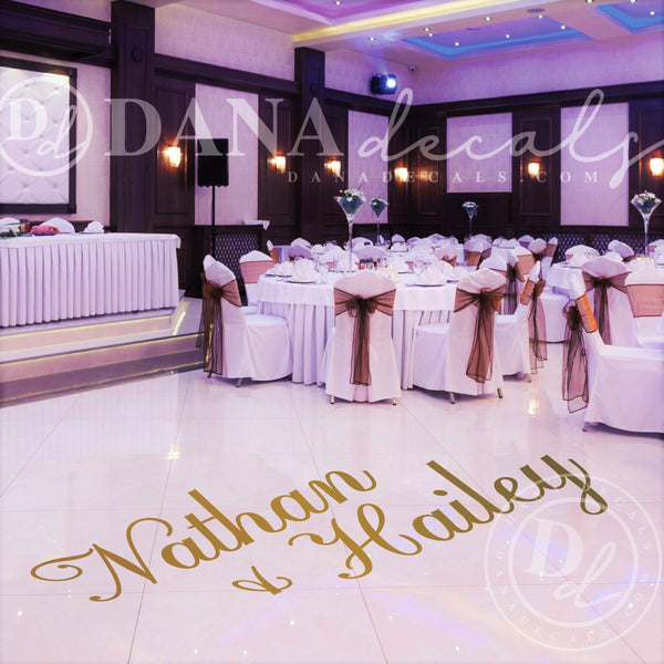 Elegant Script Names Dance Floor Decal - Dana Decals