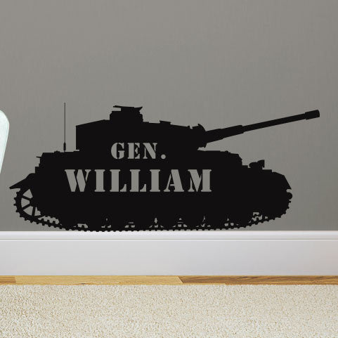 Personalized Military Tank Shilouette - Dana Decals - 1