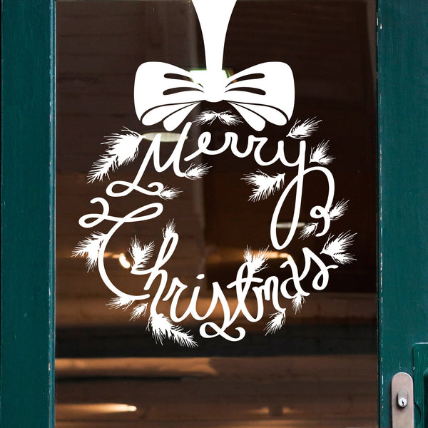 Merry Christmas Wreath Solid - Dana Decals - 1