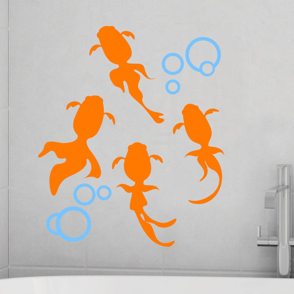 Koi Goldfish with Bubbles - Dana Decals - 1