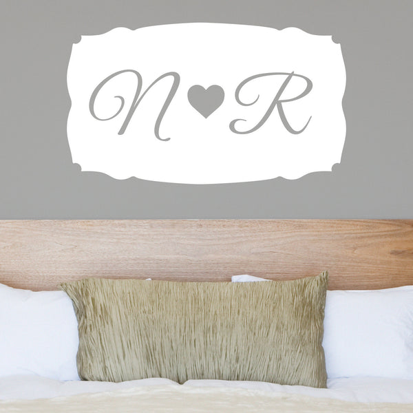 Couples Heart Monogram - Dana Decals