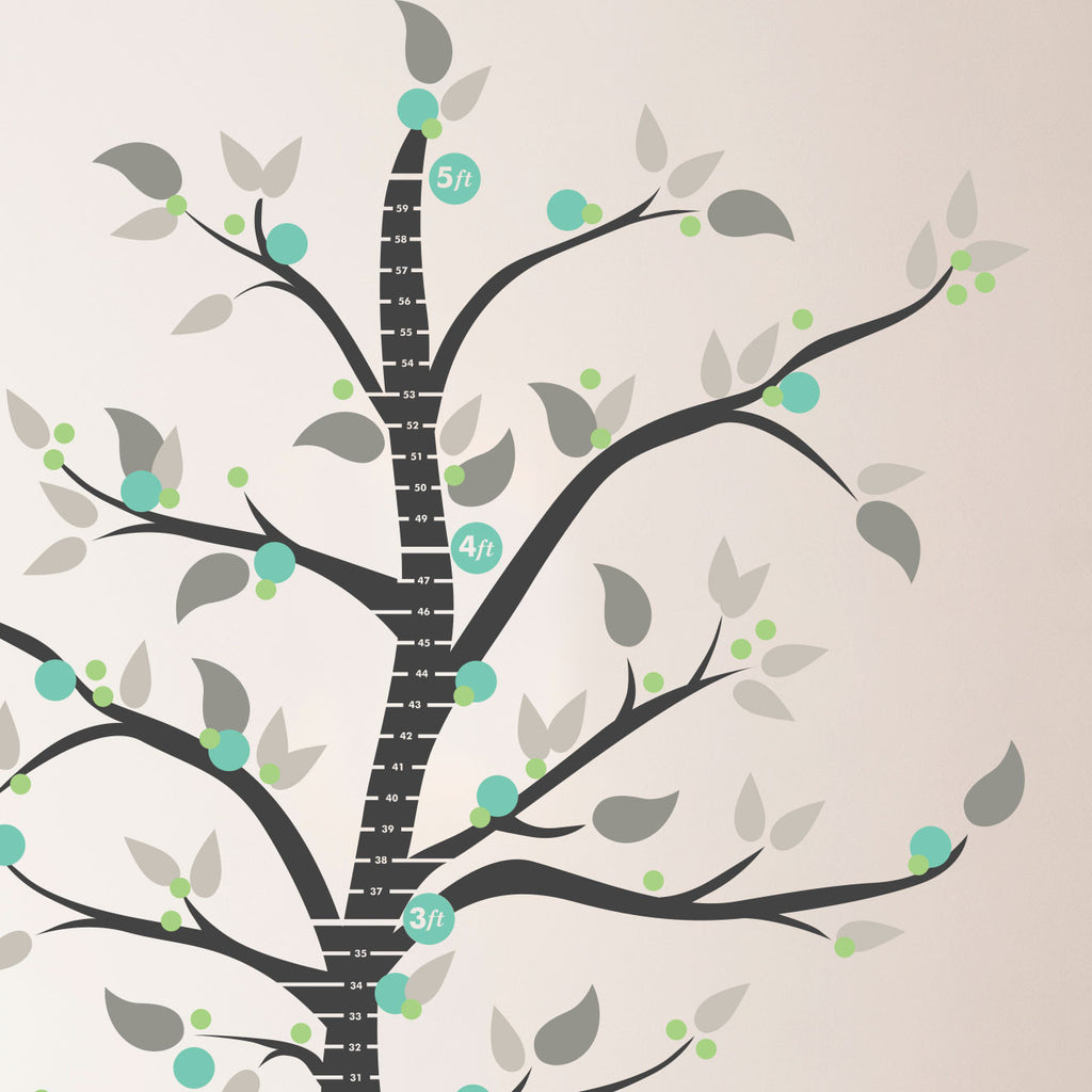 Modern Whimsical Dot Tree, Growth Chart - Dana Decals - 1