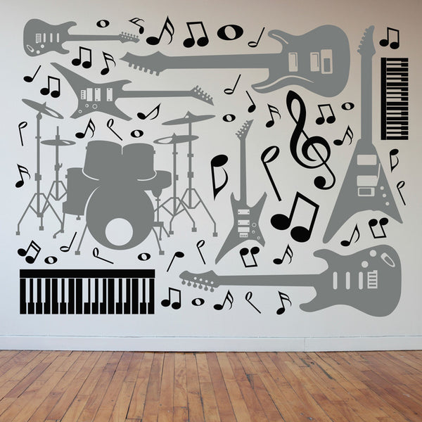 Drums, Guitars, Keyboards, and Music Notes Collage Rock Star Collection - Dana Decals