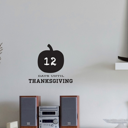 Chalkboard Thanksgiving Countdown Pumpkin - Dana Decals - 1
