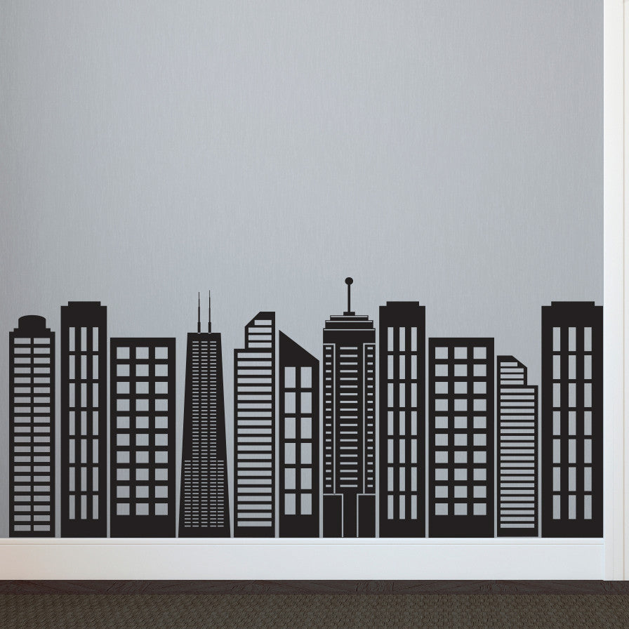 Simple Geometric City Skyline Silhouette - Dana Decals