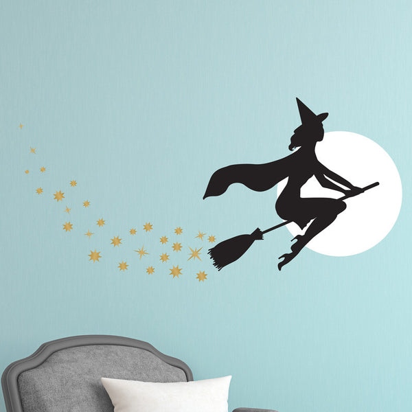 Witch on a Broom Silhouette Halloween - Dana Decals - 1