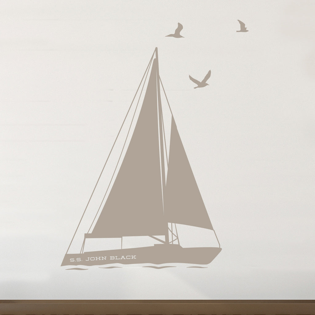 Personalized Sailboat and Birds - Dana Decals - 1