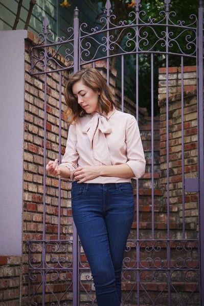 Ribbons Blouse in Blush