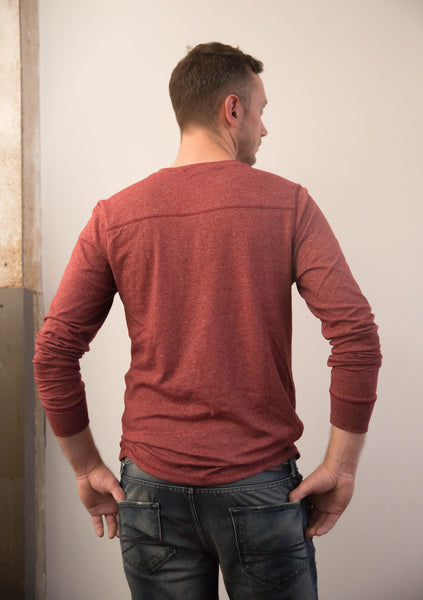 Contrast Stitch Henley in Heather Syrah
