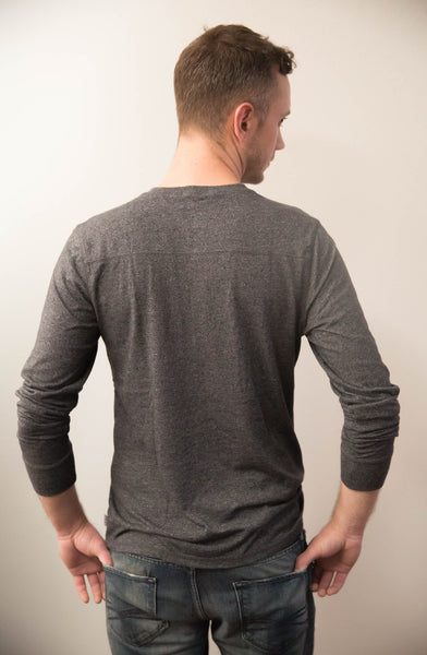 Contrast Stitch Henley in Heather Charcoal