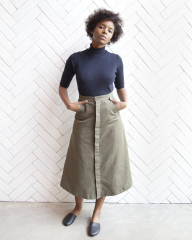 Loretta Military Skirt in Olive