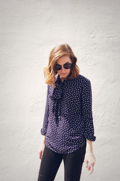 Ribbons Blouse in Navy Dot
