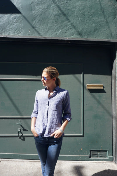 West Lake Button Down in Indigo Stripe