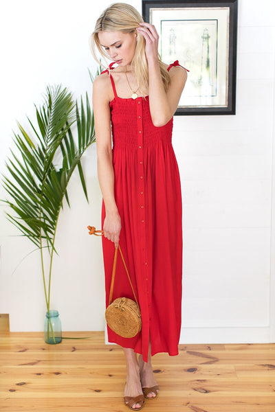 Santiago Dress in Bright Red