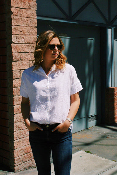 Stella Button-Down in White Dobby