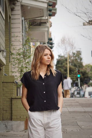 Stella Button-Down in Black Silk