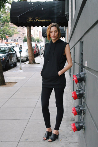 Layering Sleeveless Hoodie in Jet Black