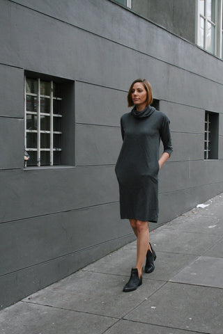 Eliza Turtleneck Dress in Charcoal