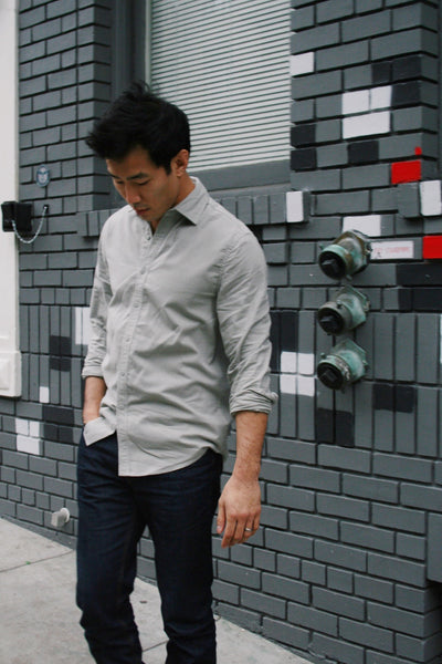 Lightweight Brushed Twill Shirt in Grey Smoke