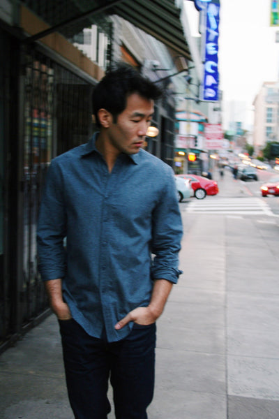 Lightweight Brushed Twill Shirt in Blue Nights