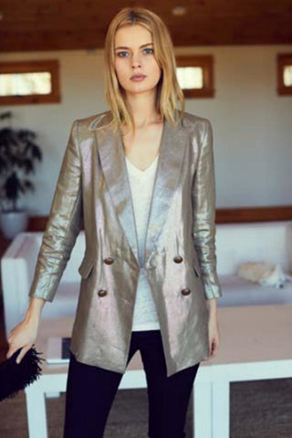 Double Breasted Jacket in Metallic