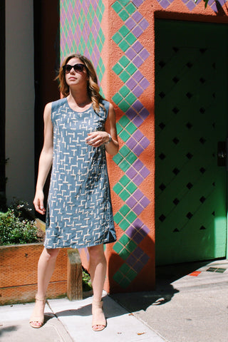 Summer Ferns Shift Dress in Marine