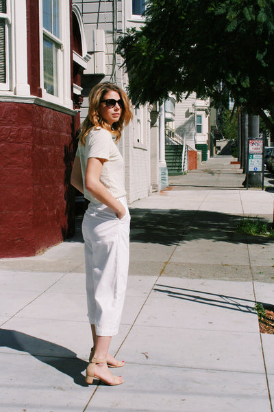Ava Cropped Pant in White