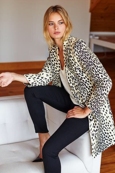 Wingtip Coat in Leopard Print