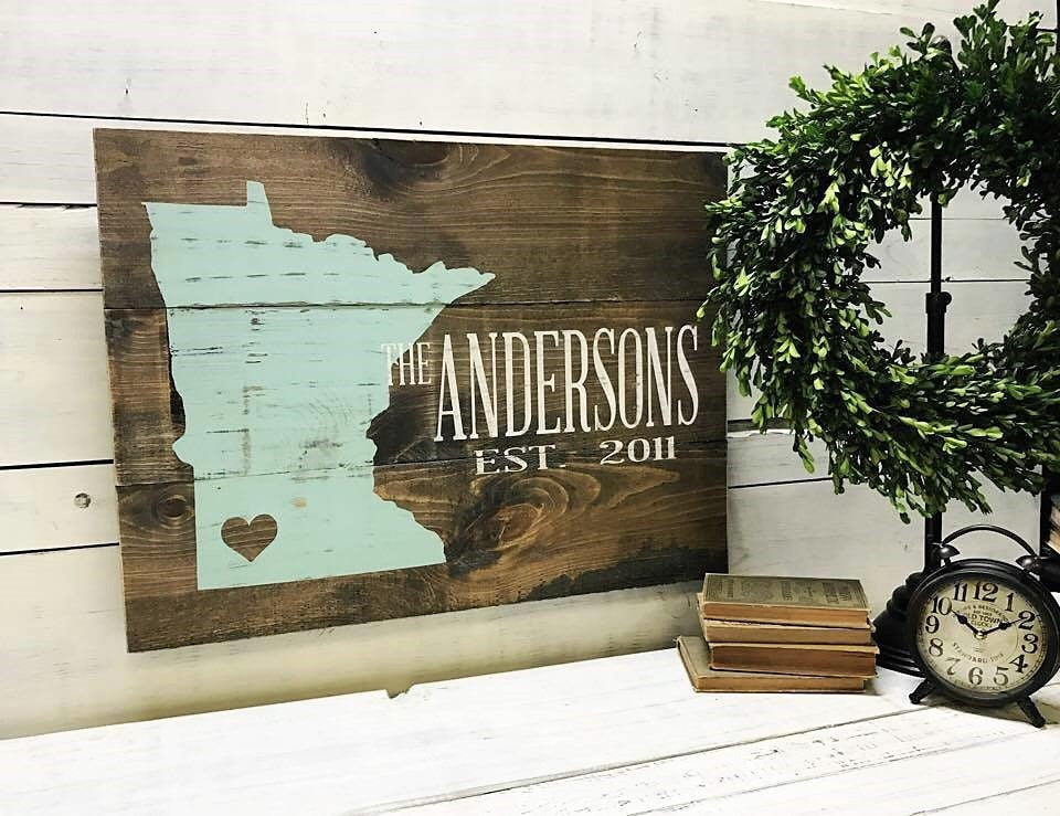 State ♥ City + Last Name :: Rustic Wood Sign