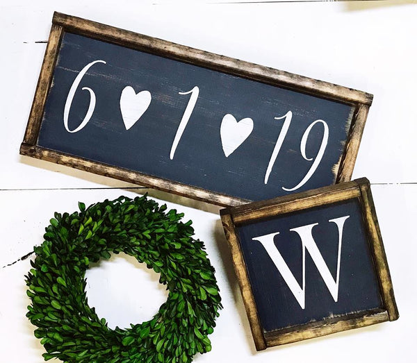 Date Sign & Monogram Letter Duo • Framed