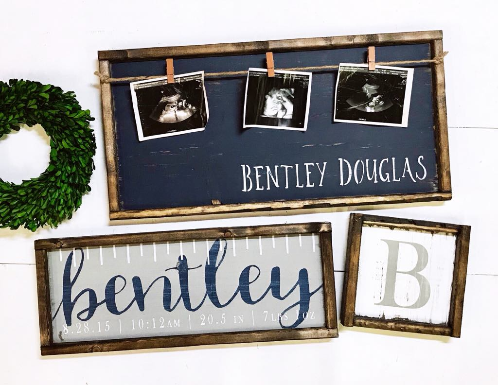 Photo Board with Name, Custom Birth Ruler & Monogram Letter Trio  • Framed