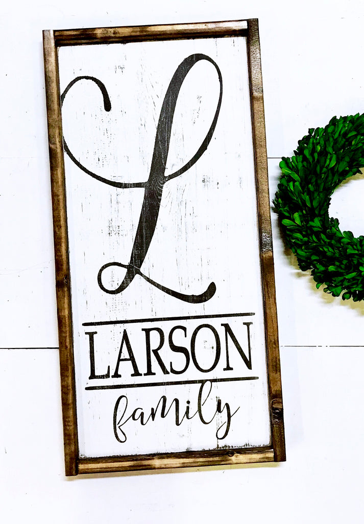 Script Monogram || Last Name + Established Year Custom Sign • 2' • Framed Sign