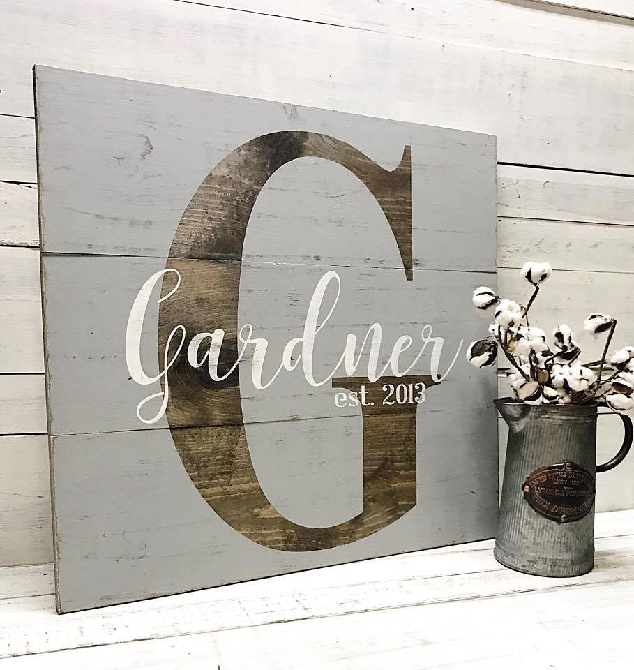 Color Block Monogram :: Last Name & Est. Year Rustic Wood Sign