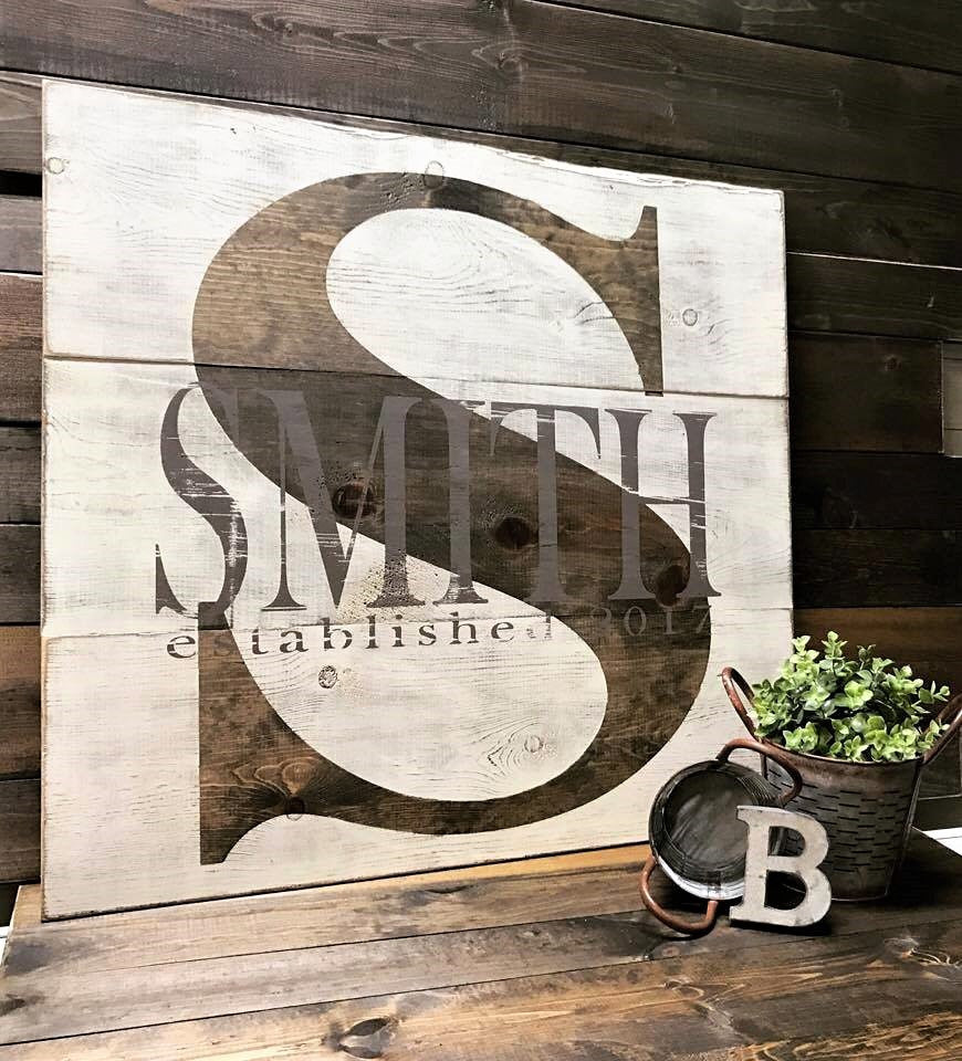 Color Block Monogram :: Block Last Name & Est. Year Rustic Wood Sign