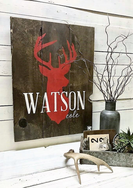 Buck/Doe Silhouette + Name :: Rustic Wood Sign